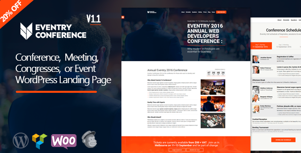 eventry conference event landing page wordpress theme by jthemes