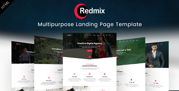 redmix multipurpose landing page template by envytheme themeforest