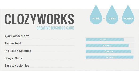 Clozyworks creative business card by zerge themeforest colourmoves