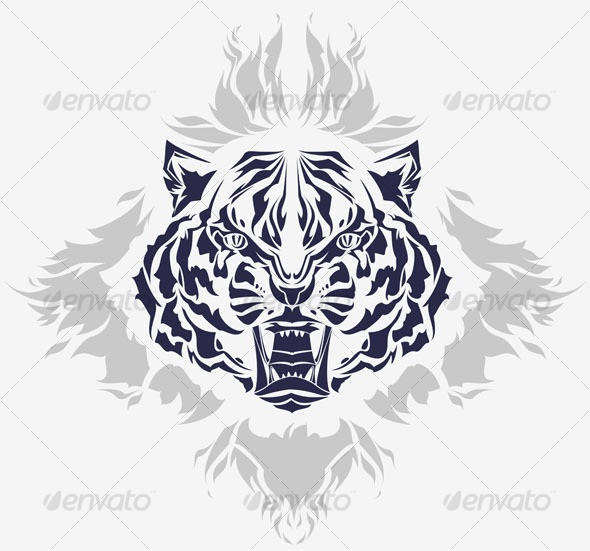 wild groaling tiger head tribal tattoo