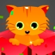 Cat in a gift box e-card Animation