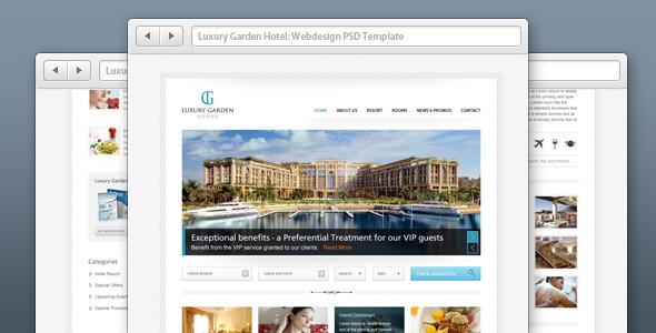 Luxury Garden Hotel Website PSD Template by joeBanana   ThemeForest