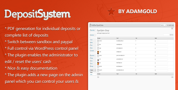 WordPress Deposit System
