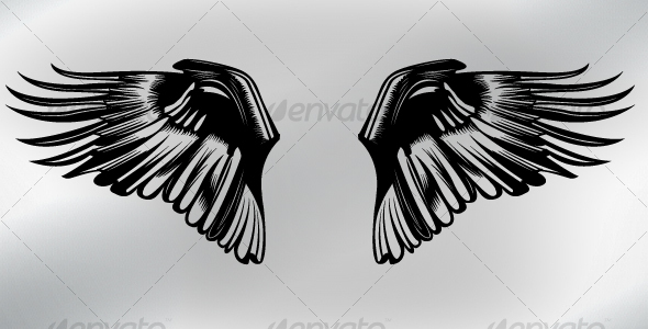 "*GA* Dynamic Tattoos ""Swirl"" Vector image of wing ornament, in swirl/tattoo"
