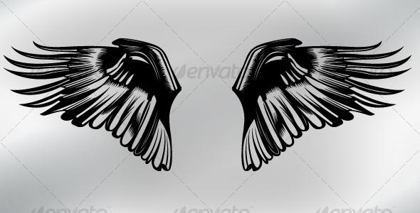 "*GA* Dynamic Tattoos ""Swirl"" Vector image of wing ornament, in swirl/tattoo"