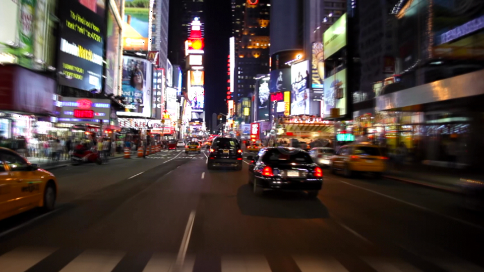 times square new york at night. Night drive in Time Square New