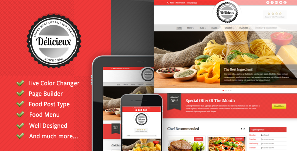 Delicieux Restaurant Wordpress Theme By GoodLayers ThemeForest - Restaurant template wordpress