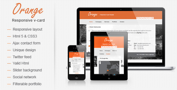 Orange responsive v card template by mutationthemes themeforest orange responsive v card template virtual business card personal reheart Image collections