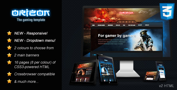 Orizon The Gaming Template HTML Version By Skywarrior ThemeForest - Gaming website template