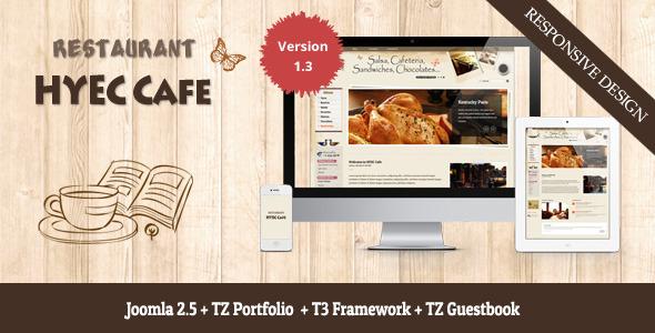 hyec cafe restaurant joomla template by templaza themeforest