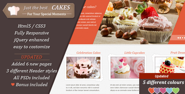 JustCakes - Cake Bakery HTML template by Templatation | ThemeForest