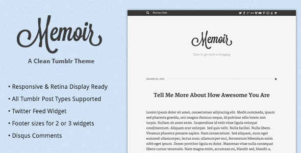 memoir tumblr theme by designcrumbs themeforest. Black Bedroom Furniture Sets. Home Design Ideas