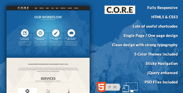 Core One Page Responsive HTML Template By Designthemes ThemeForest - Html5 web page template