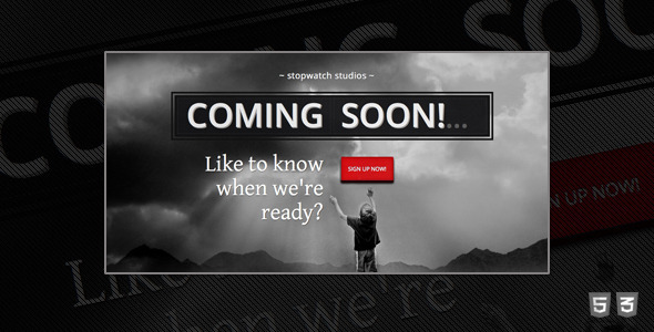 stopwatch coming soon html5 template by josweb themeforest. Black Bedroom Furniture Sets. Home Design Ideas