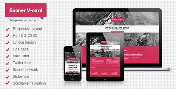 Sooner v card responsive one page v card template by mutationthemes sooner v card responsive one page v card template virtual business card personal reheart Image collections