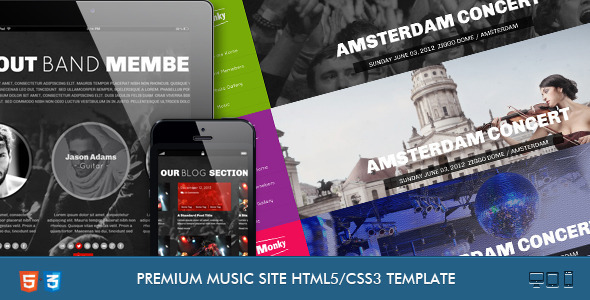 monkey music band responsive template by coralixthemes themeforest
