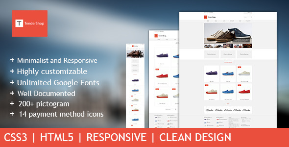 TenderShop Minimal Responsive ECommerce Template By Ninetheme - Responsive shopping cart template