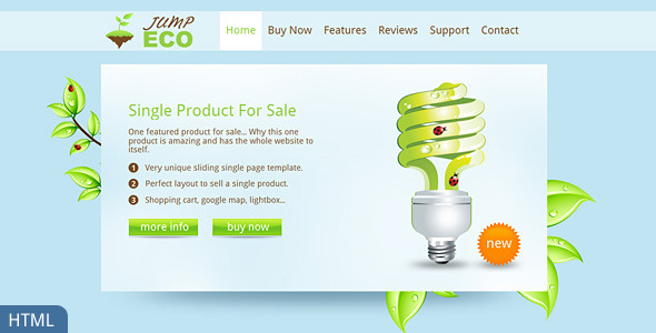 Jump Eco HTML Slider Single Product Shop By Dtbaker ThemeForest - Single product ecommerce template