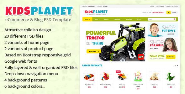 Kids Planet eCommerce Blog PSD Template by Monkeysan ThemeForest