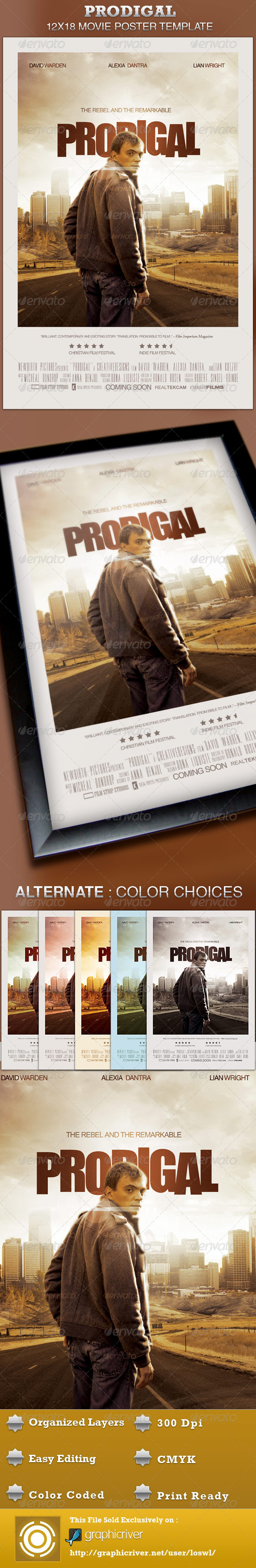 Editable movie poster credit template