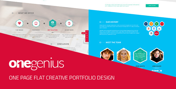 Onegenius One Page Flat Portfolio Psd Template By Andig Themeforest