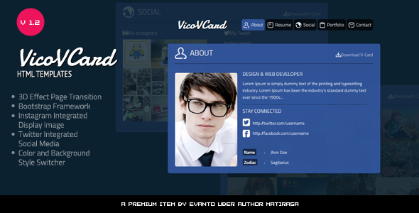 Vico V Card Roundabout Resume Template By Matirasa ThemeForest - Virtual business card template