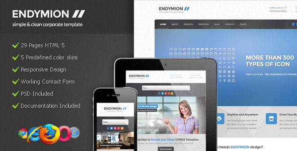 Endymion - Simple & Clean Corporate Template by Indonez | ThemeForest