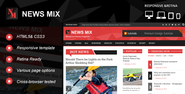 News Mix Responsive HTML 5 Website Template by kopasoft | ThemeForest