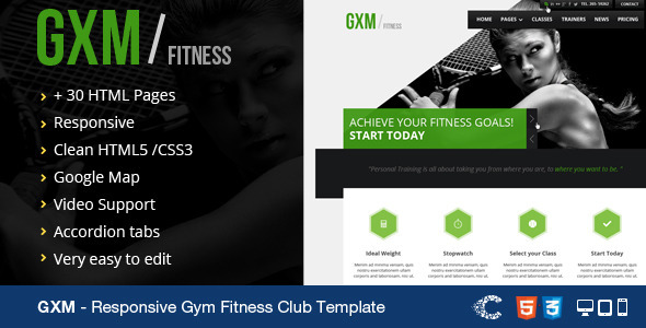 GXM Responsive Gym Fitness Club HTML Template By CoralixThemes | ThemeForest  Fitness Templates Free