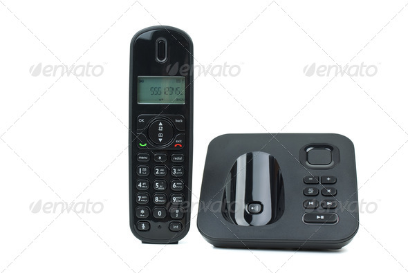 Modern Cordless Phone With Answering Machine   Stock Photo   Images