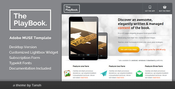 The Playbook Muse Landing Page Template By Tansh | Themeforest