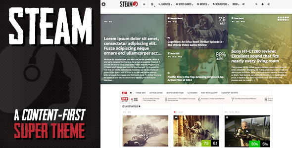 Steam - Responsive Retina Review Magazine Theme by IndustrialThemes
