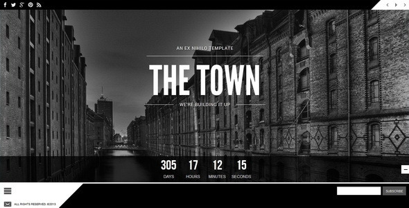 The town responsive coming soon page by ex nihilo themeforest pronofoot35fo Choice Image