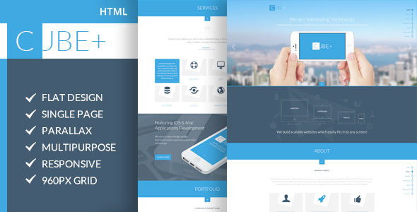 Cube One Page Parallax HTML Template By CodePixar ThemeForest - Html site template