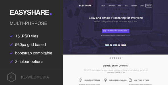Easyshare Filesharing PSD Template By KLWebmedia ThemeForest - Photo sharing website template