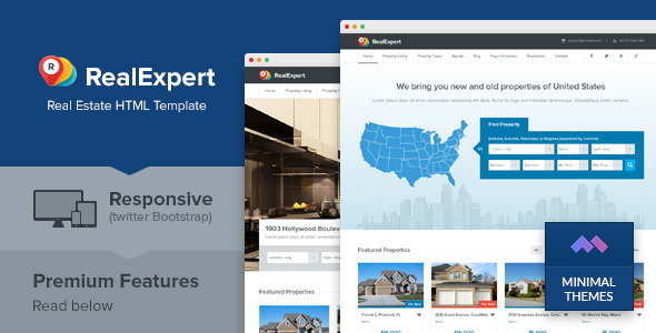 Real expert responsive real estate html template by minimalthemes pronofoot35fo Image collections