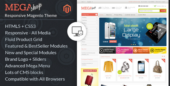 Mega Shop - Magento Responsive Template by TemplateMela | ThemeForest