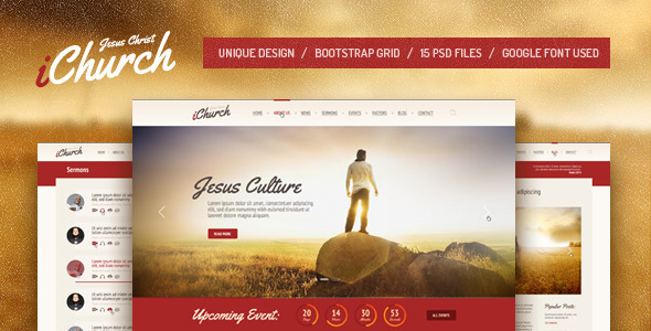 IChurch PSD Template By Themefire ThemeForest - Church website templates