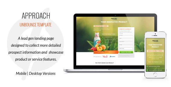 Approach Lead Gen Unbounce Template By Gv ThemeForest - Lead generation website template