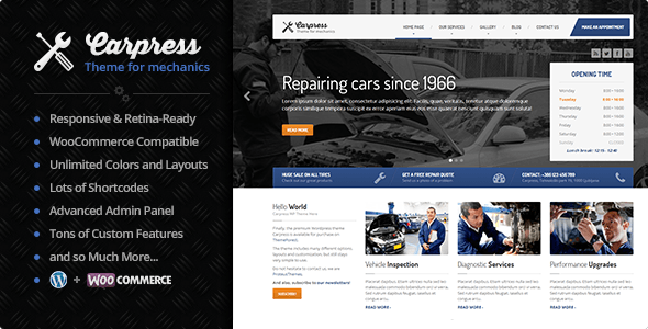 CarPress - WordPress Theme For Mechanic Workshops by ProteusThemes