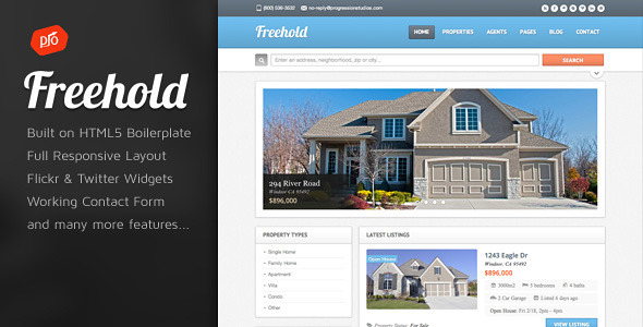 Freehold Real Estate Site Template By ProgressionStudios ThemeForest - House listing template