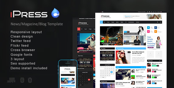 iPress - Responsive News/Magazine Drupal theme by drupalet ...