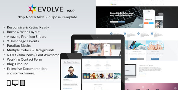 Evolve - Responsive Multi-Purpose Website Template by okathemes ...