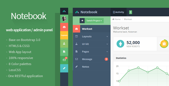 notebook web app and admin template by flatfull themeforest. Black Bedroom Furniture Sets. Home Design Ideas