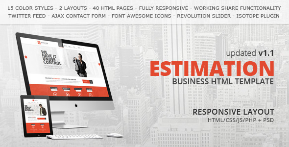 Estimation responsive business html template by hedgehogcreative estimation responsive business html template corporate site templates accmission Image collections