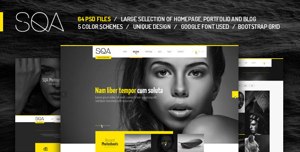 SQA PSD Template By Themefire ThemeForest - Photography website design templates
