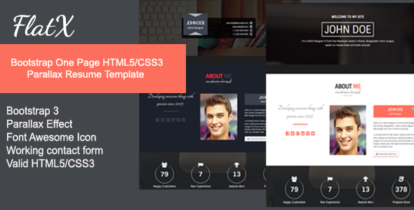 flatx bootstrap onepage parallax resume template by themeelegant