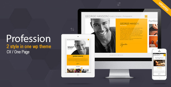 profession one page cv resume theme by pixflow themeforest - Wordpress Resume Template