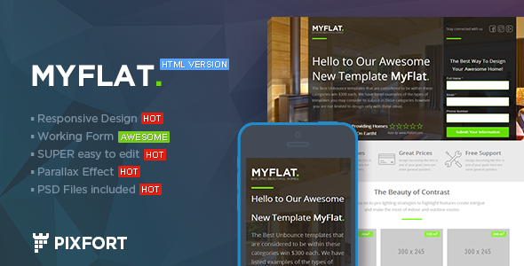 MYFLAT Real Estate HTML Landing Page By PixFort ThemeForest - Real estate landing page template free