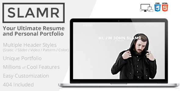 slamr ultimate resume and personal portfolio by createbrilliance
